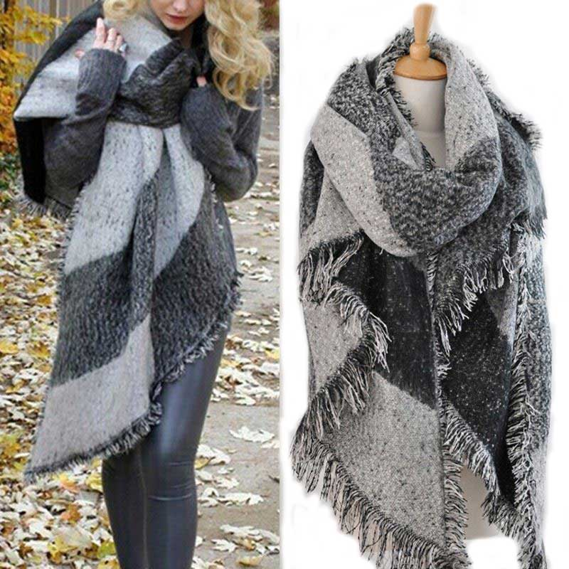 Blanket Plaid Pashmina Shawls Warm Thick Scarves Cape Wraps Women Winter Scarf za Foulard Femme Neck