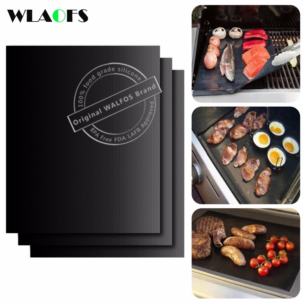 WALFOS BBQ mat 0.2mm Thick ptfe Barbecue Grill Mat non-stick Reusable BBQ grill mats sheet grill foil bbq liner