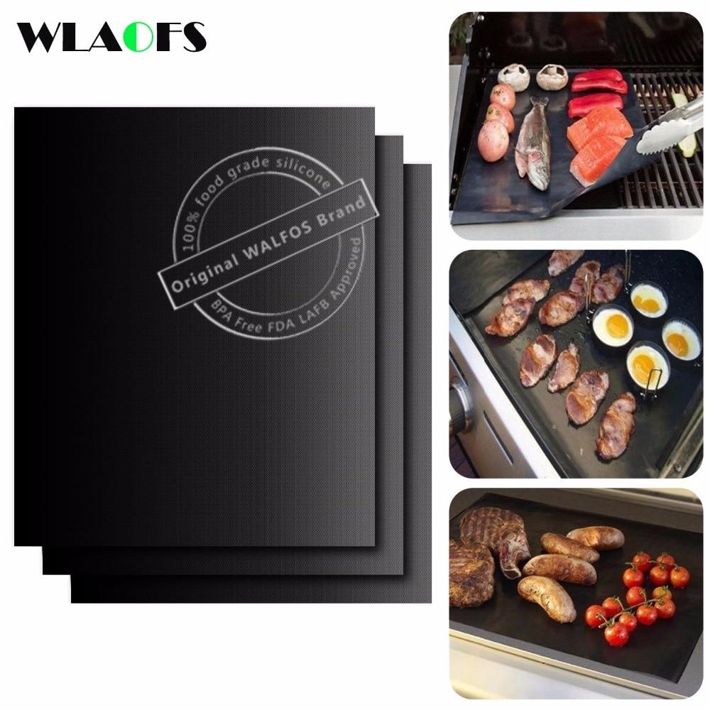 WALFOS BBQ-Matte 0,2 mm dicke PTFE-Grill-Grillmatte Antihaft-wiederverwendbare BBQ-Grillmatten Blatt Grillfolie Grill