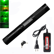 High Power 532 nm Green Laser Sight laser pointer Powerful device Adjustable Focus Burning with laser 303+charger+18650 Battery цены онлайн