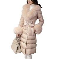 High quality Down Cotton Coat Women 2019 Slim Warm Winter Parka Jacket With Fur collar Elegant Down Jacket Outwear Women