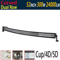 300 Вт 52 изогнутые светодиодные бар 5D 4D отражают свет чашки дюймов с CREE для вождения изогнутый СВЕТОДИОДНЫЙ work Light Bar Offroad 12 В 24 В лампа