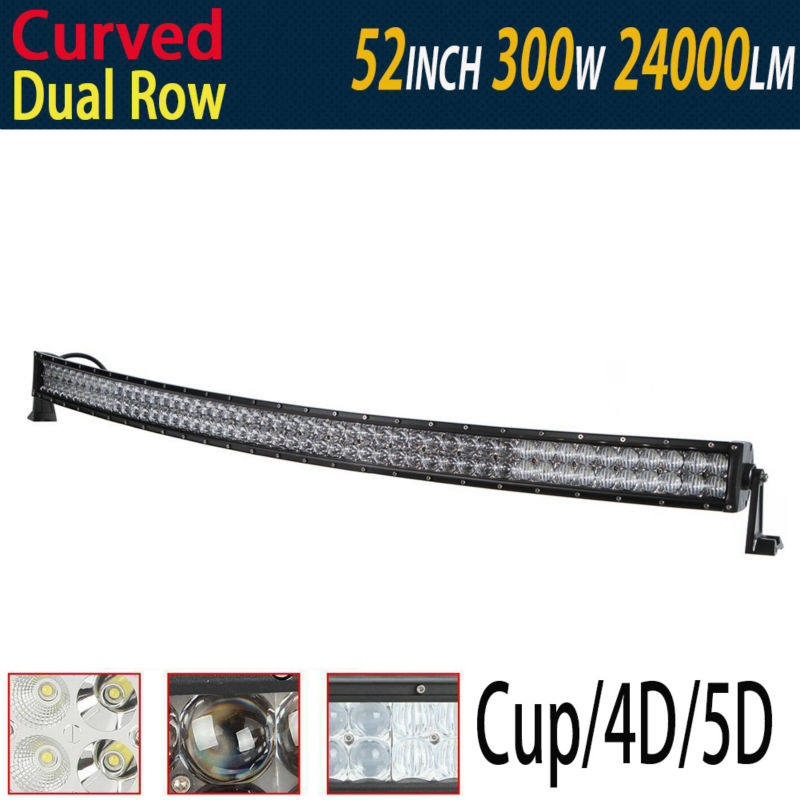 300W 52 Curved LED Light Bar 5D 4D Reflect Light Cup inch with Cree for Driving Curved Led Work Light Bar Offroad 12V 24V Lamp