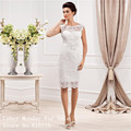 Custom Made Elegant Sheer Scoop Neckline Sleeveless Sheath Lace Short Wedding Dresses 2017 Cheap Bridal Gowns Robe de Mariee