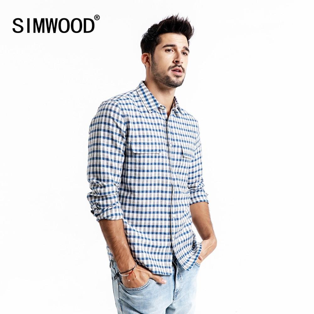 SIMWOOD Casual Shirt Men Brand Linen 2020 Spring Fashion Streetwear Long Sleeve Plaid Shirts Male Camisa Masculina 190174