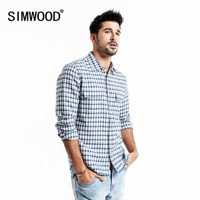 SIMWOOD dorywczo koszula mężczyzn marki pościel 2020 wiosna moda Streetwear z długim rękawem kratę koszule męskie Camisa Masculina 190174