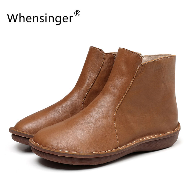 Whensinger - 2018 New Autumn Winter Women Boots Genuine Leather Shoes Handmade 0501