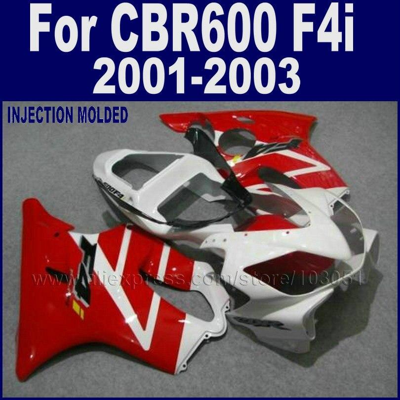 Customize Road motorcycle fairings kits for Honda 2001 2002 2003 CBR 600 F4i cbr600f4i 01 02 03 red white fairing bodywork parts