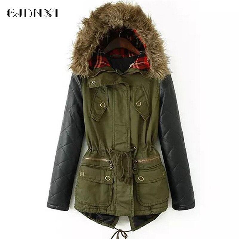 CJDNXI 2018 Для женщин зимние пальто Армейский зеленый вниз парки с капюшоном плюс Размеры хлопковой подкладкой куртки искусственная кожа с дли...