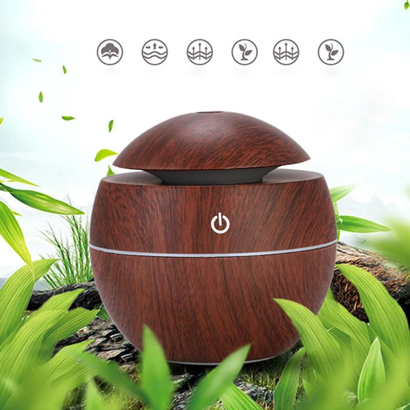 Ultrasonic Air Humidifier LED Colorful USB Intelligent Induction Wood Grain Humidifier Aroma Essential Oil Diffuser for Home Car colorful wood grain print flannel bath rug