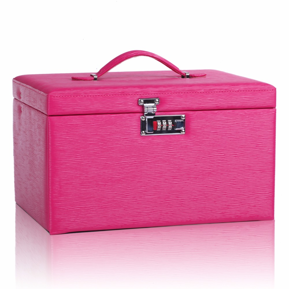 Large Jewellery Boxes Watch Storage Case with Lock Rose Mirrored Armoire Bracelet PU Travel Case Faux Leather Ring Display ZG243 hipsters faux jade carve leg irregular square mirrored sunglasses
