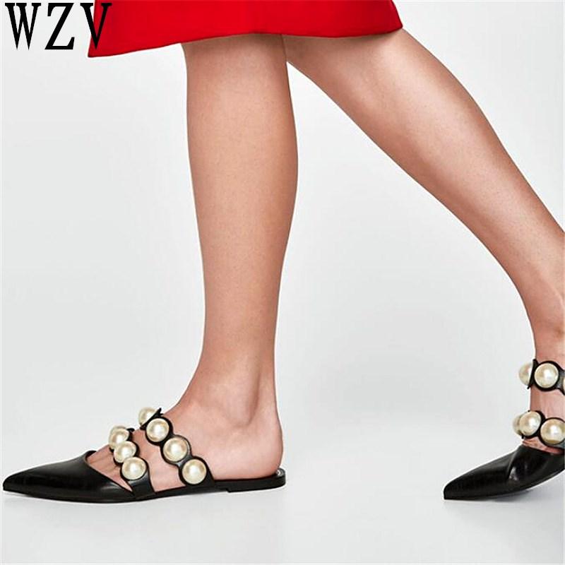 En Plana Zapatillas Tamaño Zapatos Elegante 2019 Resbalón Mujeres Mujer Mulas Plus De Punta Mocasines Moda Planos Las Para Primavera Zapatilla Negro qwIvF4