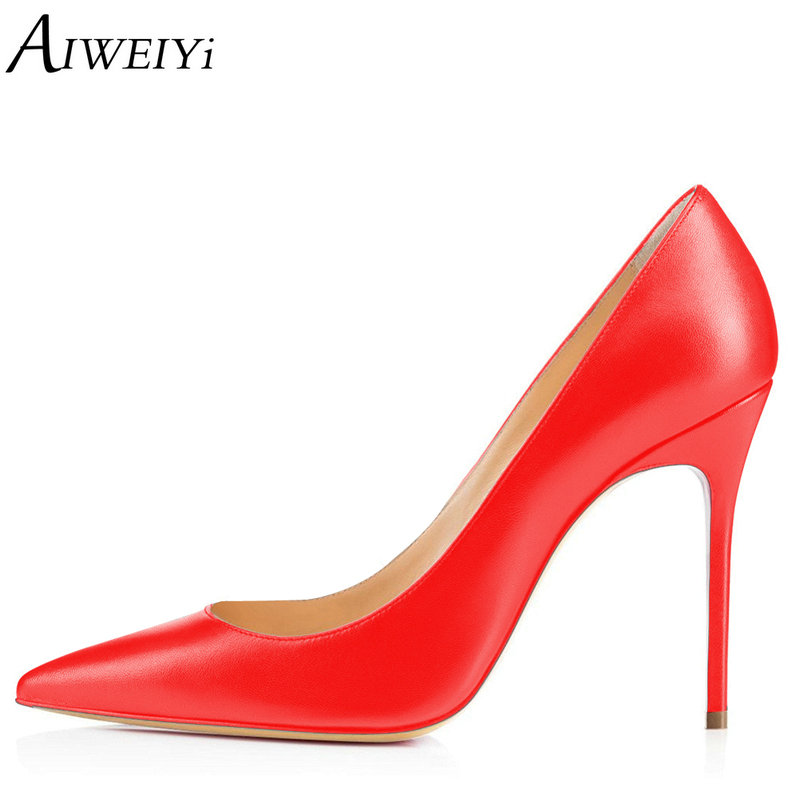 AIWEIYi Women Basic Pumps Platform Shoes Pointed toe Slip On High Heels Shoes Red Ladies Wedding Shoes 10CM Stiletto Shoes Woman aiweiyi 2018 summer women shoes pointed toe stiletto high heel pumps dress shoes high heels gold transparent pvc shoes woman