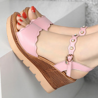Quality Plus Size 33 43 Women's Sandals 2019 New Pearl Buckle Wedge Heel Platform Sandals Women Summer Shoes Pink White