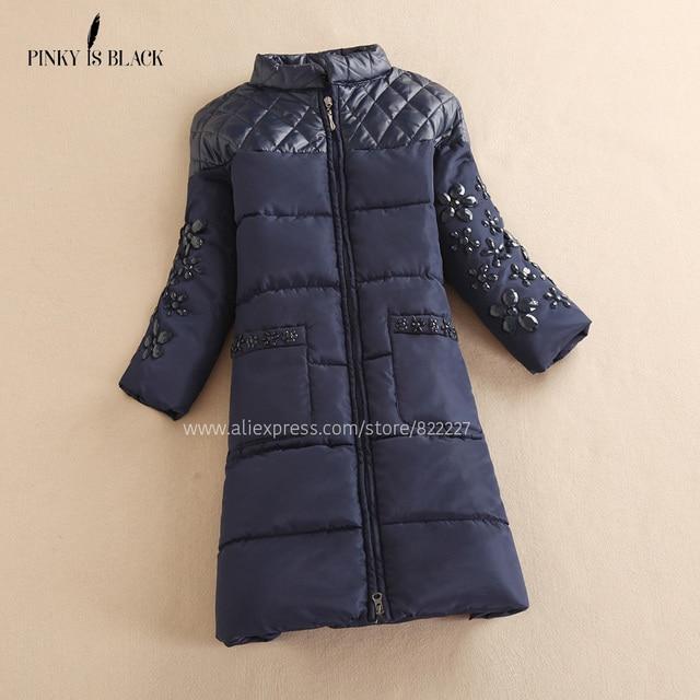 Winter Jacket Women 2016 Diamond Spliced Down Cotton-padded Outwear Natural Fur Flower Winter Coat Women Rhinestone Long Parkas