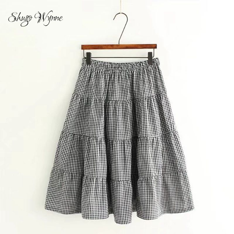 Shugo Wynne Japanese Mori Girl Skirts 2017 Summer New Women Vintage Plaid Elastic Waist Cotton Linen A-line Skirt Saia Femininas