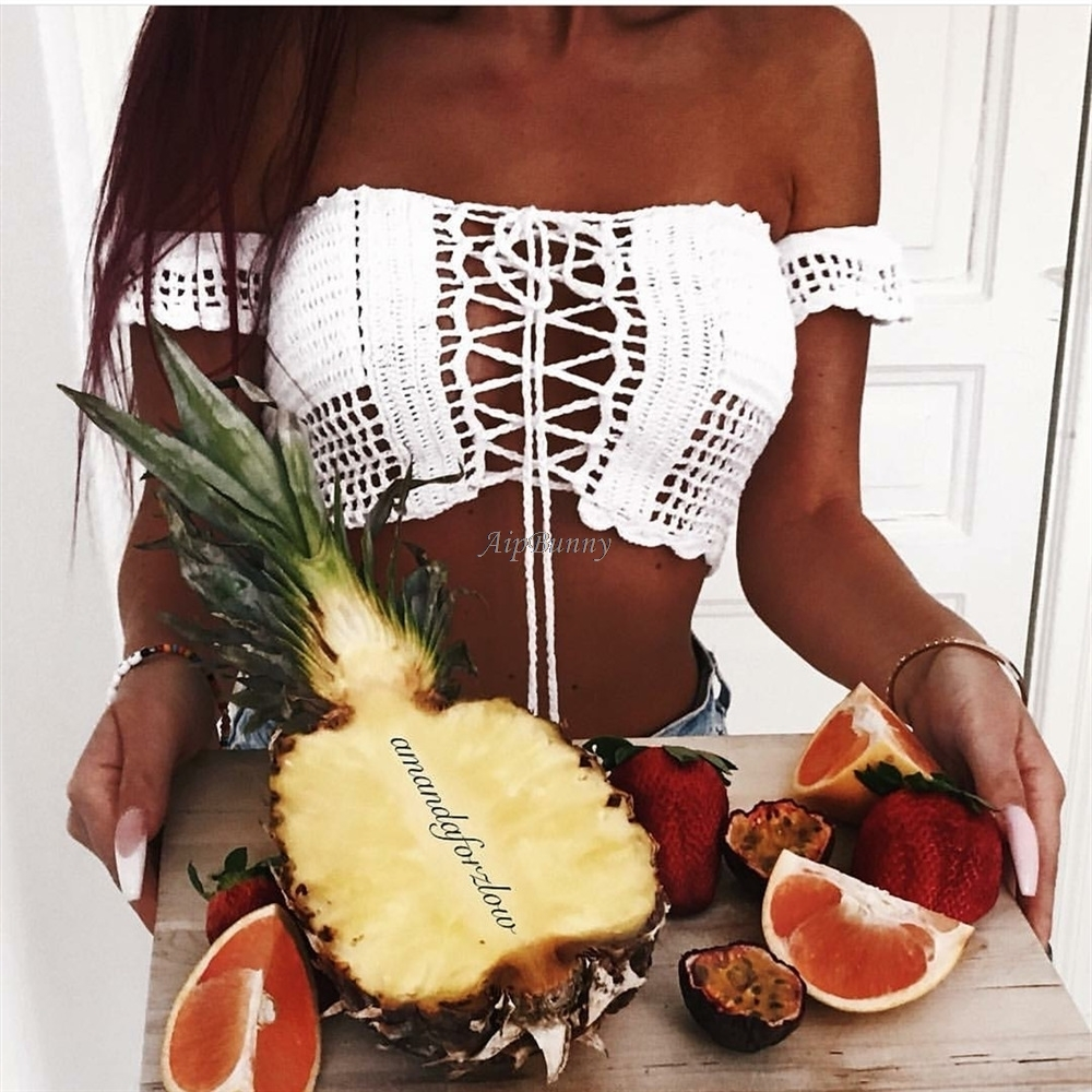 2018 Knitted Suit Bathing Off shoulder femme Swimwear Bikini Tops Bands Women Crochet Swimsuit maillot de bain in Two Piece Separates from Sports Entertainment