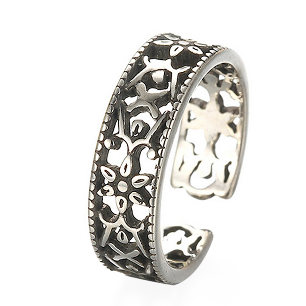Thai Silver Hollow Out Vintage Retro Boho Bohemia Ancient Silver Tibetan Carving Totems Rings Set Lucky Punk Women Jewelry