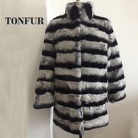 Low Discount 100% 3D Real Natural Genuine Rabbit Fur Stripe Contrast Long coat for women winter of 2019 New Arrival FP355