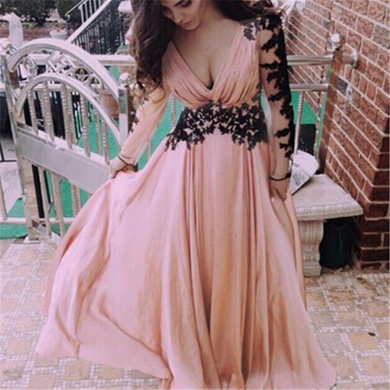 Women Vintage Fashion Summer Sexy V Neck Lace Splice Long Sleeves Pink Dress Party Bowknots Feminino Vestidos