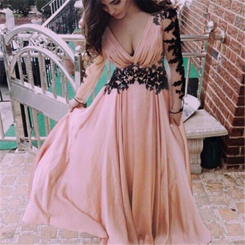 Women Vintage Fashion Summer Sexy V Neck Lace Splice Long Sleeves Pink Dress Party Bowknots Feminino Vestidos