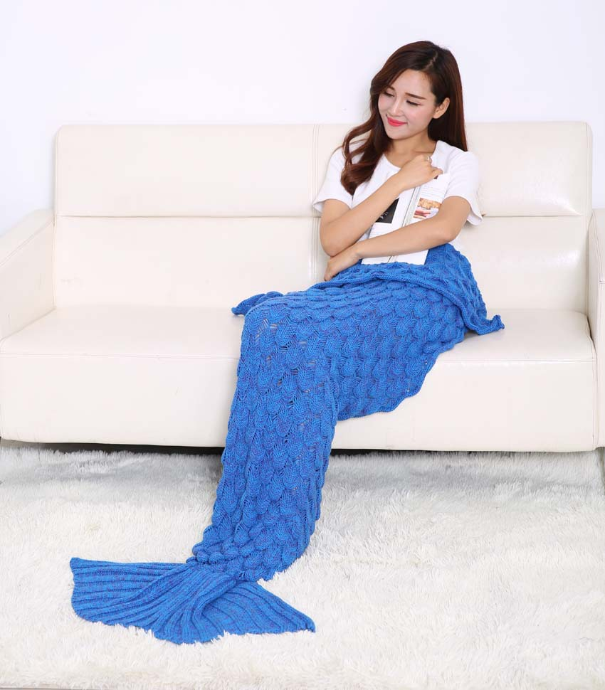 Mermaid Tail Coperta In Pile Morbido Fatto A Mano A Maglia Lap Lancio Bed Wrap Fin Caldo Cocoon Costume Capretti Delle Ragazze Dei Bambini Sacco A Pelo