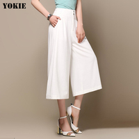 Office Patchwork Wide Leg Pants Women Chiffon Solid Causal High Waist Woman Trousers White Black Pink