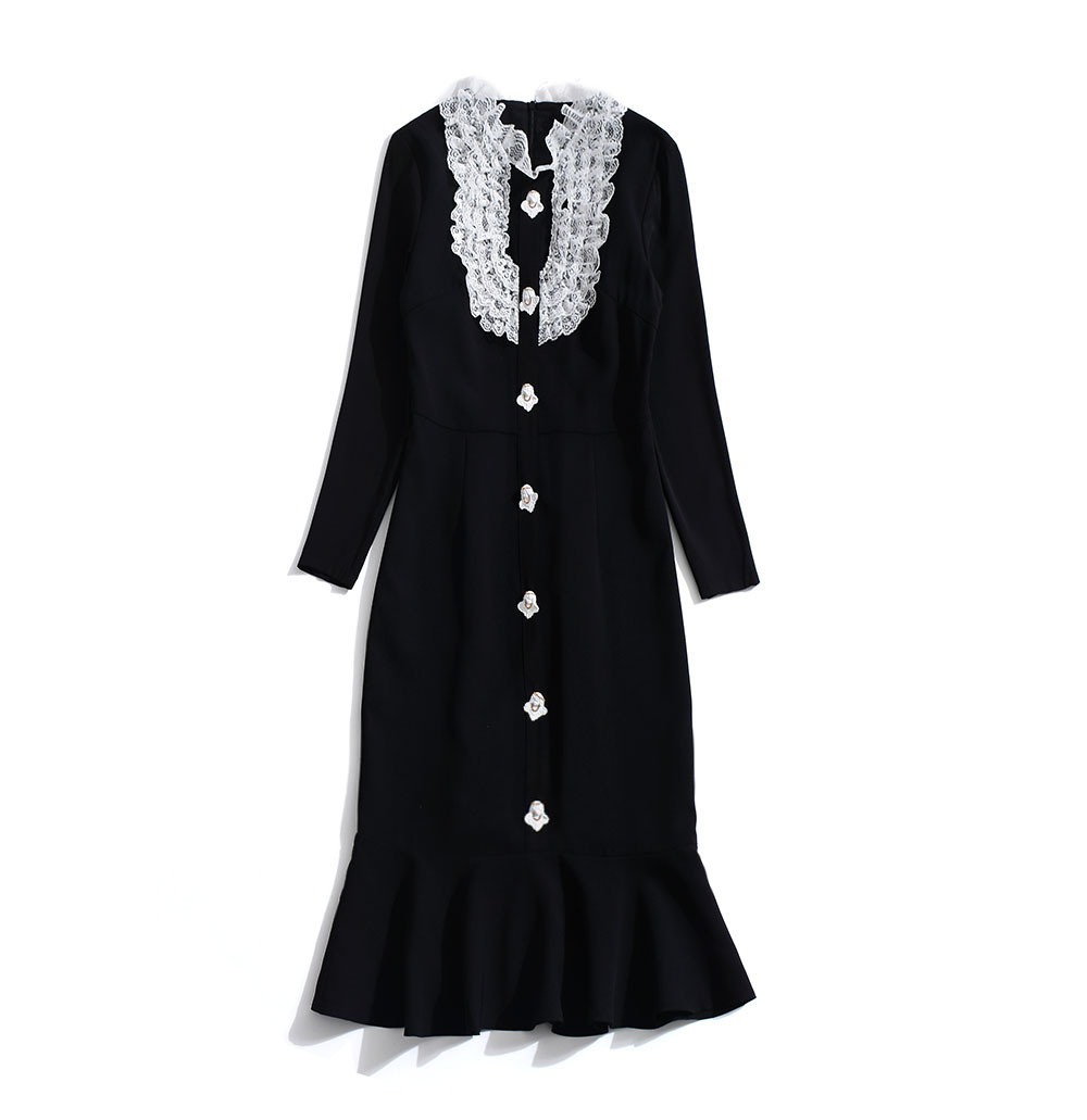 Vintage De Ruches Demi La Robes Robe Sirène O Taille Trompette Plus Noir Élégant Manches Mode cou Dentelle Couleur Boutons Lady tqxw4Z