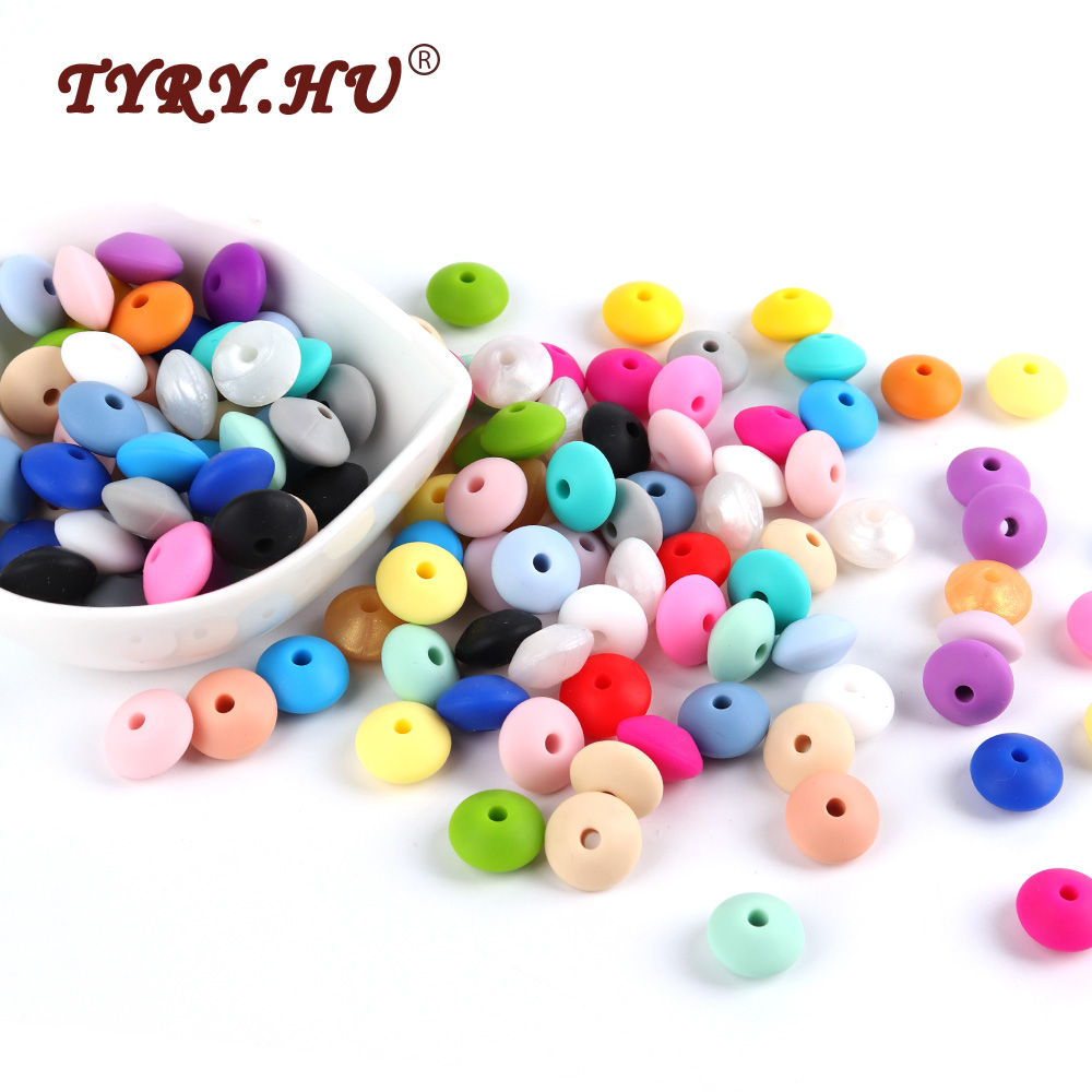 TYRY.HU 500Pcs Silicone Lentil Abacus Beads 12mm Baby Teething Beads BPA Free Baby Teether Necklace Pendant Pacifier Chain Tools