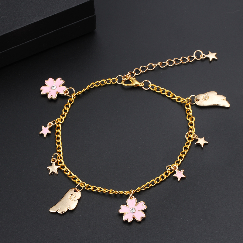 Gold Color Sailor Moon Bracelet stars, flowers, wings Charms Sailor Moon Bracelets & Bangles For Women Femme DIY Love Bracelet