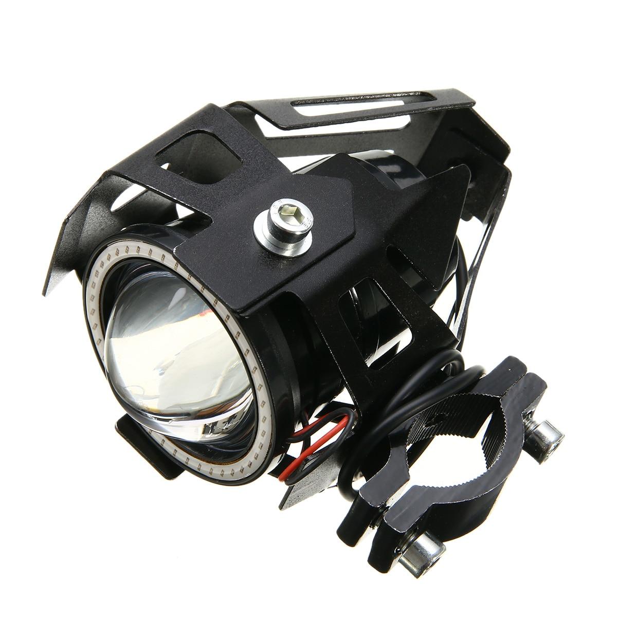 2 pcs 125 W U7 Moto LED Ange Yeux Phare Brouillard Spot Light + Commutateur des Phares Moto Moto Head Light lampe