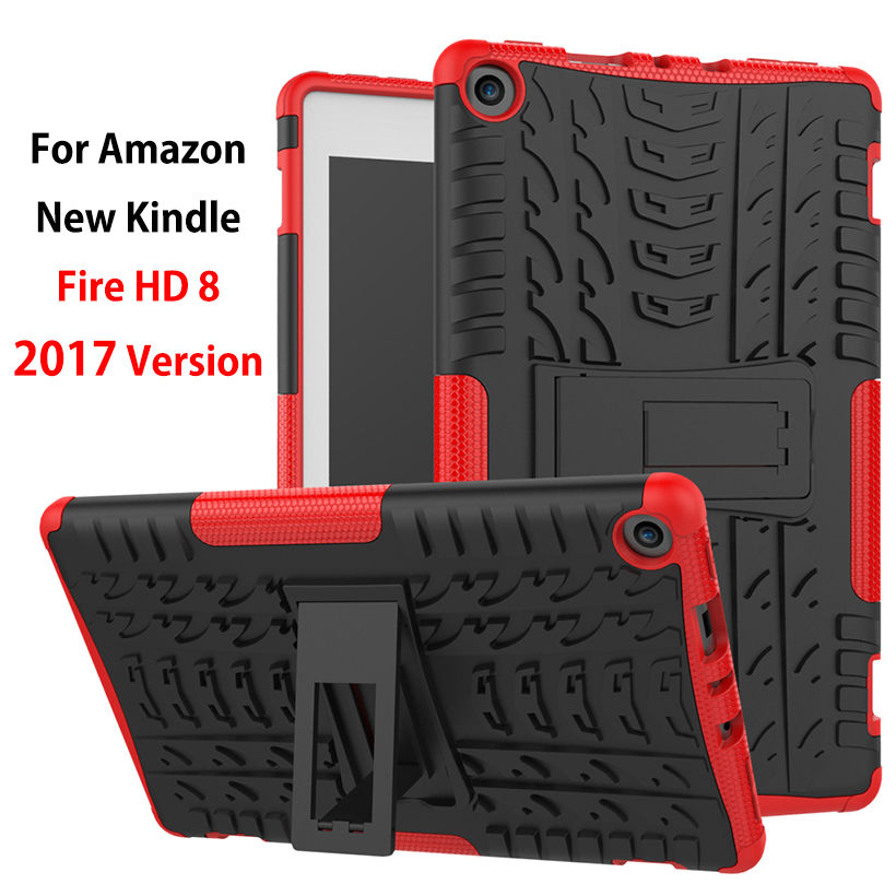 For Amazon 2017 New Kindle Fire HD 8 Case Cover Shockproof Heavy Duty Armor KickStand Silicone TPU PC Funda Tablet Stand Shell for amazon kindle fire hd 8 2017 pirate tablet case cover shockproof heavy duty silicone pc stand case w wrist shoulder strap