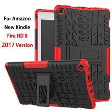 Para el Amazonas 2017 Nuevo Kindle Fire HD 8 Caso de La Cubierta A Prueba de Golpes Heavy Duty Armor KickStand Funda de Silicona TPU PC Tablet Soporte Shell