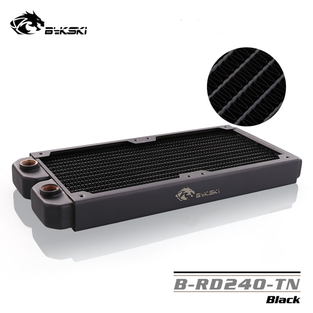 Radiador Bykski de una sola onda de cobre de 240mm, un disipador de calor líquido de refrigeración por agua de 30mm para 12 cm los Fans de PC B-RD240-TN
