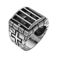 Cool Cross skull cage ring men Titanium steel unique jewelry exquisite personality Antique biker ring