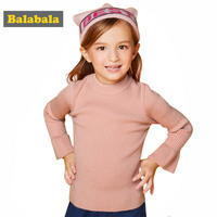 Balabala Girls Enfant Sweaters Children Knitted Spring Costumes Clothes O Neck Solid Flare Sleeve Sweater For
