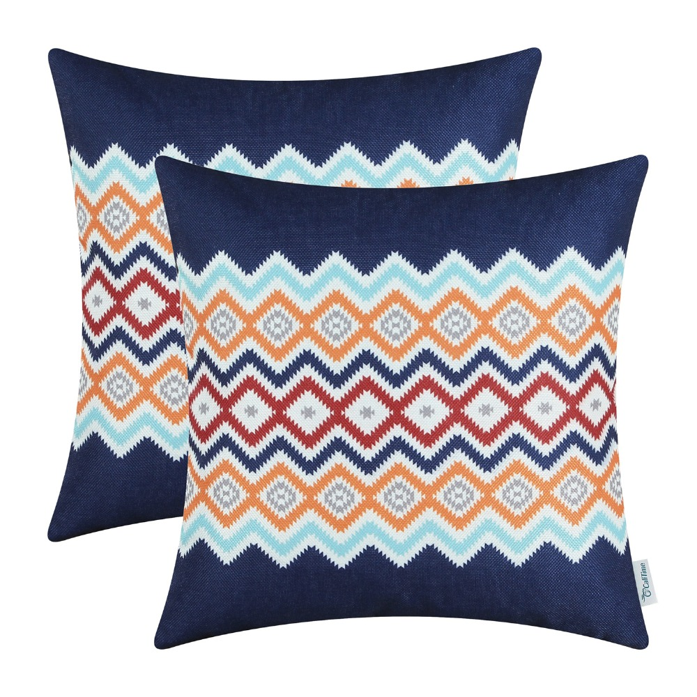 2PCS CaliTime Cushion Cover Decorative Pillows Shell Home Sofa Bedding  Geometric Stripes Wave Navy Blue 18
