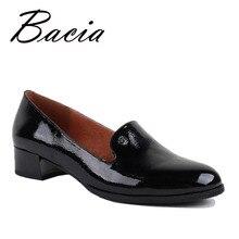 Bacia/обувь натуральная кожа обувь на плоской подошве круглый носок Slip-On Повседневная Женские туфли ручной работы мягкие черные унисекс плоским Новый VB008