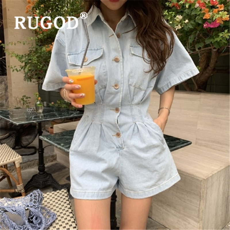 RUGOD 2019 New Fashion Rompers Womens Jumpsuit High Waist Slim Single-breasted Summer Jumpsuit