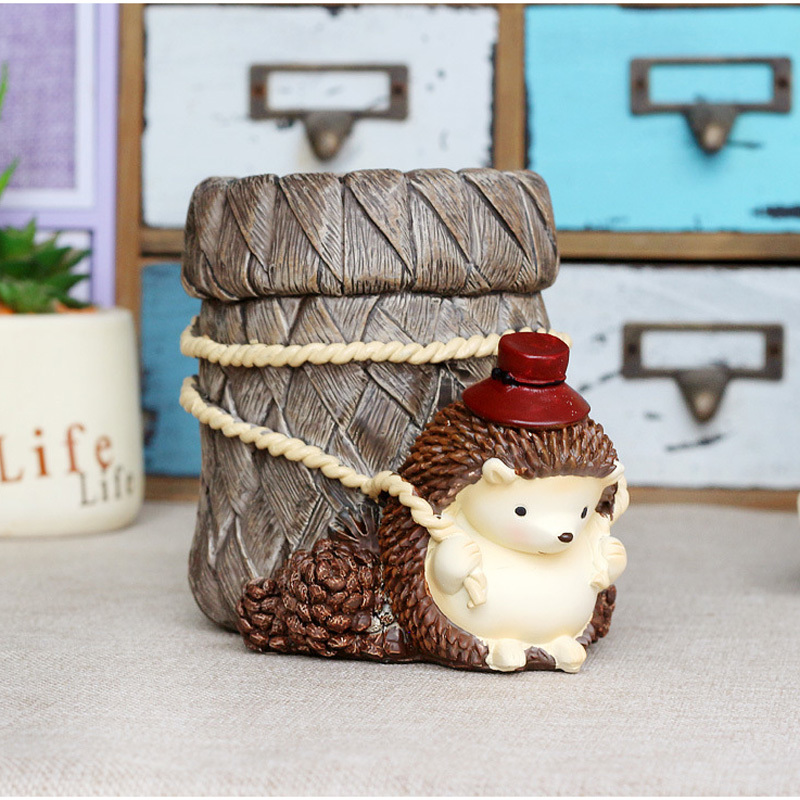 Cute stump forest hedgehog pen boutique resin home decoration creative student office stationery gift Crafts Lovers WL5240919