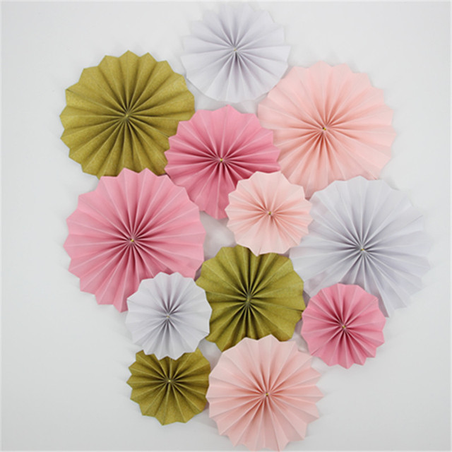 Pink White And Gold Glitter Paper Flowers Kit For Wedding Party
