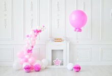 hot deal buy gray chic wall pink balloons birthday party fireplace flower baby child portrait photo backdrops photo backgrounds photo studio