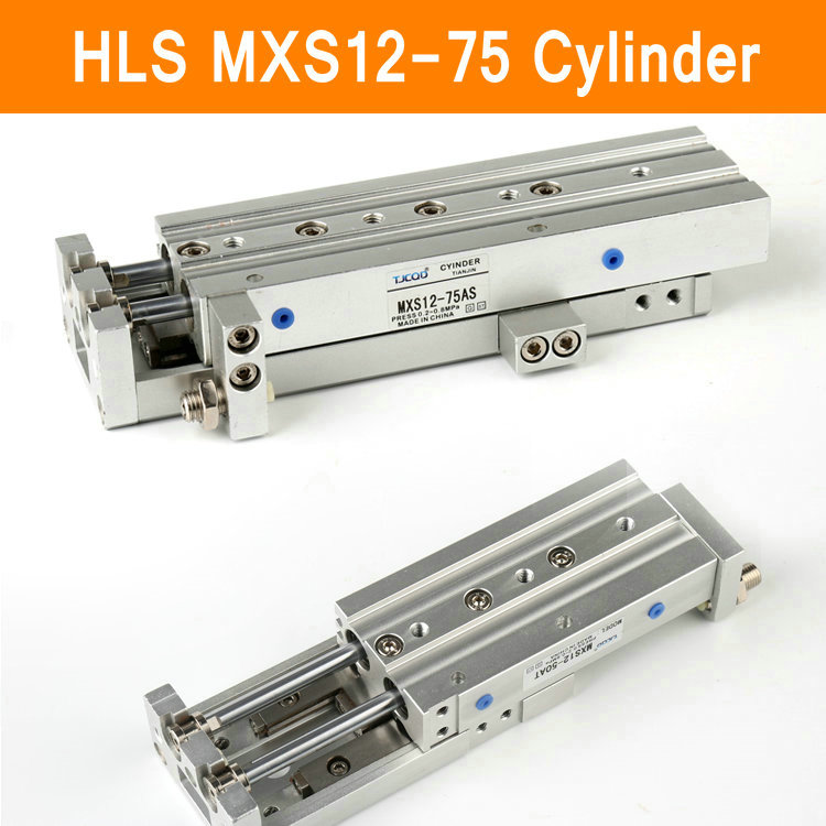HLS MXS12-75 SMC Type MXS Series Cylinder MXS12-75A 75AS 75AT 75B Air Slide Table Double Acting 12mm Bore 75mm Stroke acq100 75 b type airtac type aluminum alloy thin cylinder all new acq100 75 b series 100mm bore 75mm stroke