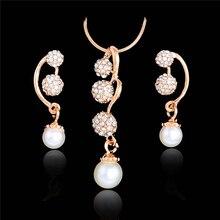 купить Elegant Wedding Jewelry Sets Full Crystal Ball Inlaid Rhinestones Imitation  Pearl Earring/ Necklace Jewelry parure bijoux femme по цене 87.28 рублей