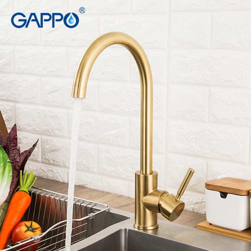 GAPPO Kitchen Faucet Brushed Gold Kitchen Mixer Tap Stainless Steel Water Taps Deck Mounted Kitchen Waterfall Sink Faucet