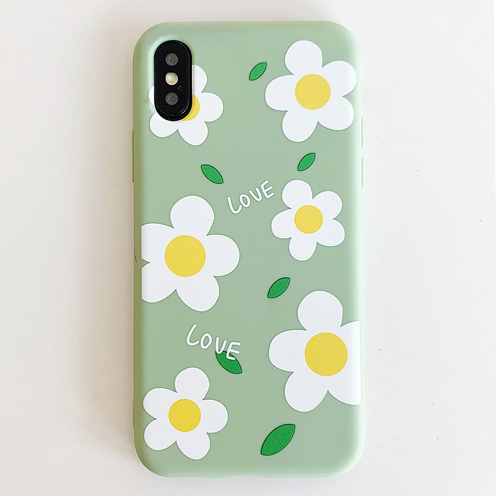 KIPX1113E_1_JONSNOW Matte Phone Case for iPhone 6S 6P 7 8 Plus Small Daisy Pattern Soft Silicone Cases for iPhone X XR XS Max Capa Fundas