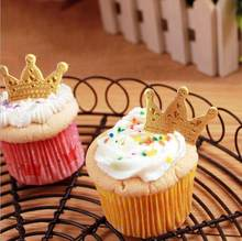 golden crown cake toppers paper cards banner for Cupcake Wrapper Baking Cup wedding birthday tea party decoration Wholesale(China)