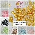 $0.99 El Envío Libre Muchos Colores Aljofara a medias alrededor de 1000 unids 4mm Flatbac Pegamento En Granos de la Resina de DIY Nails Art Encantos