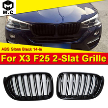 цена на For BMW X3 F25 LCI Kidney Grill Grille ABS Gloss Black Twin Bar M Style With Badge F25 X3 X3M look Front Grills 2-Slats 2007-14