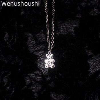 WENUSHOUSHI-collares con colgante de oso y flores para mujer, cadenas vintage de...